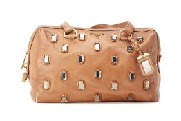 A PRADA BROWN DIAMANTÉ EMBELLISHED LEATHER HANDBAG