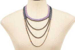 A VENESSA ARIGAZA LILAC & METAL MULTI-STRANDS NECKLACE