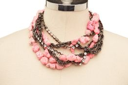 A PINK CORAL & DIAMANTÉ NECKLACE