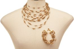A JEAN ANDRE GOLD COLOURED BEADED NECKLACE & BRACELET