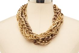 A GOLD COLOURED MULTI-CHAIN NECKLACE