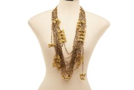 AN OSCAR DE LA RENTA GOLD COLOURED BOWTIE NECKLACE