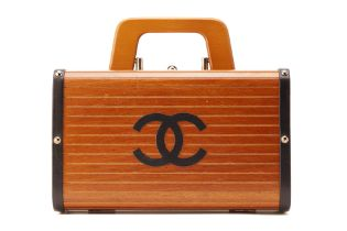 A CHANEL LIMITED EDITION WOOD CRUISE TRUNK BAG