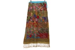 A MULTICOLOURED COTTON BEADED FLORAL MAXI SKIRT