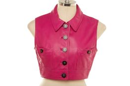 A CHANEL BOUTIQUE PINK LEATHER CROPPED GILET