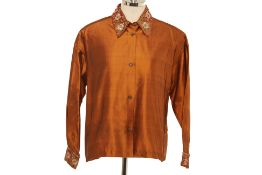 A ROMEO GIGLI CALLAGHAN BROWN SILK EMBROIDERED SHIRT