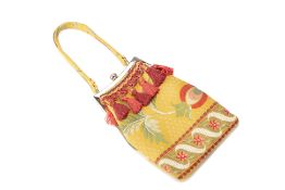 A SPENCER & RUTHERFORD YELLOW FLORAL EVENING BAG
