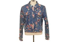 A MOISELLE DENIM & FLORAL EMBROIDERED JACKET