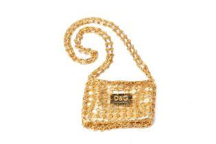 A DOLCE & GABBANA GOLD-TONE MINI SHOULDER BAG