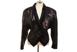 A KANSAI YAMAMOTO BLACK WOOL AND SEQUIN EMBROIDERED JACKET