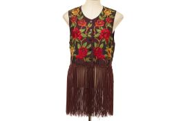 A ROMEO GIGLI CALLAGHAN BROWN FLORAL WAISTCOAT WITH FRINGING