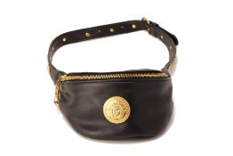 A GIANNI VERSACE BLACK LEATHER FANNY PACK
