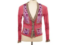 A VOYAGE PINK EMBROIDERED CARDIGAN