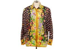A GIANNI VERSACE LADYBUG AND BUTTERFLY PRINT SILK SHIRT