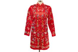 AN ESME RED FLORAL EMBROIDERED SILK JACKET