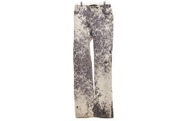 A PAIR OF ROBERTO CAVALLI ANIMAL PRINT DENIM JEANS