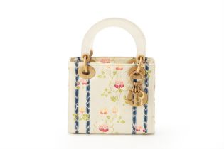 A CHRISTIAN DIOR FLORAL EMBROIDERED MINI LADY DIOR
