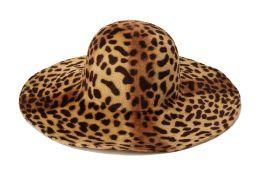 A CHEETAH PRINT WOOL SUN HAT