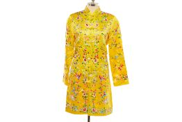 AN ESME YELLOW FLORAL EMBROIDERED SILK JACKET