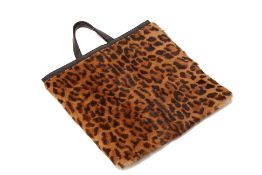 A LOEWE LEOPARD PRINT FUR AND LEATHER TOTE
