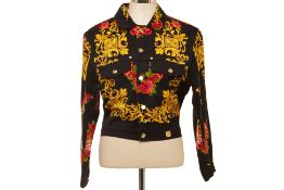 AN MCM FLORAL BAROQUE DENIM JACKET AND SKIRT SET