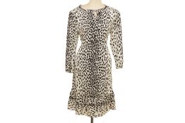 A DKNY BLACK AND WHITE SPOTTED DRESS