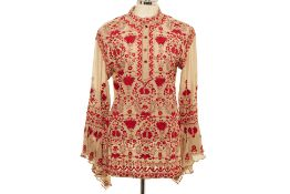 A MYNAH BY REYNU TANDON RED EMBROIDERED SHEER KURTA