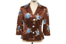 A DOLCE & GABBANA BROWN & BLUE FLORAL EMBROIDERED JACKET