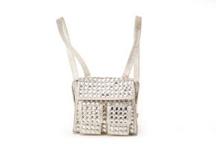 A GIANNI VERSACE SILVER DIAMANTÉ EMBELLISHED BACKPACK