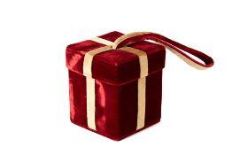 A LULU GUINNESS RED VELVET GIFT BOX BAG