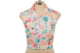 A CHANEL FLORAL QUILTED CROPPED GILET