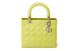 A CHRISTIAN DIOR QUILTED GREEN SATIN MEDIUM LADY DIOR