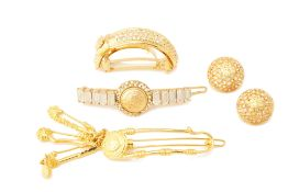 A GROUP OF VERSACE GILT METAL JEWELLERY AND ACCESSORIES
