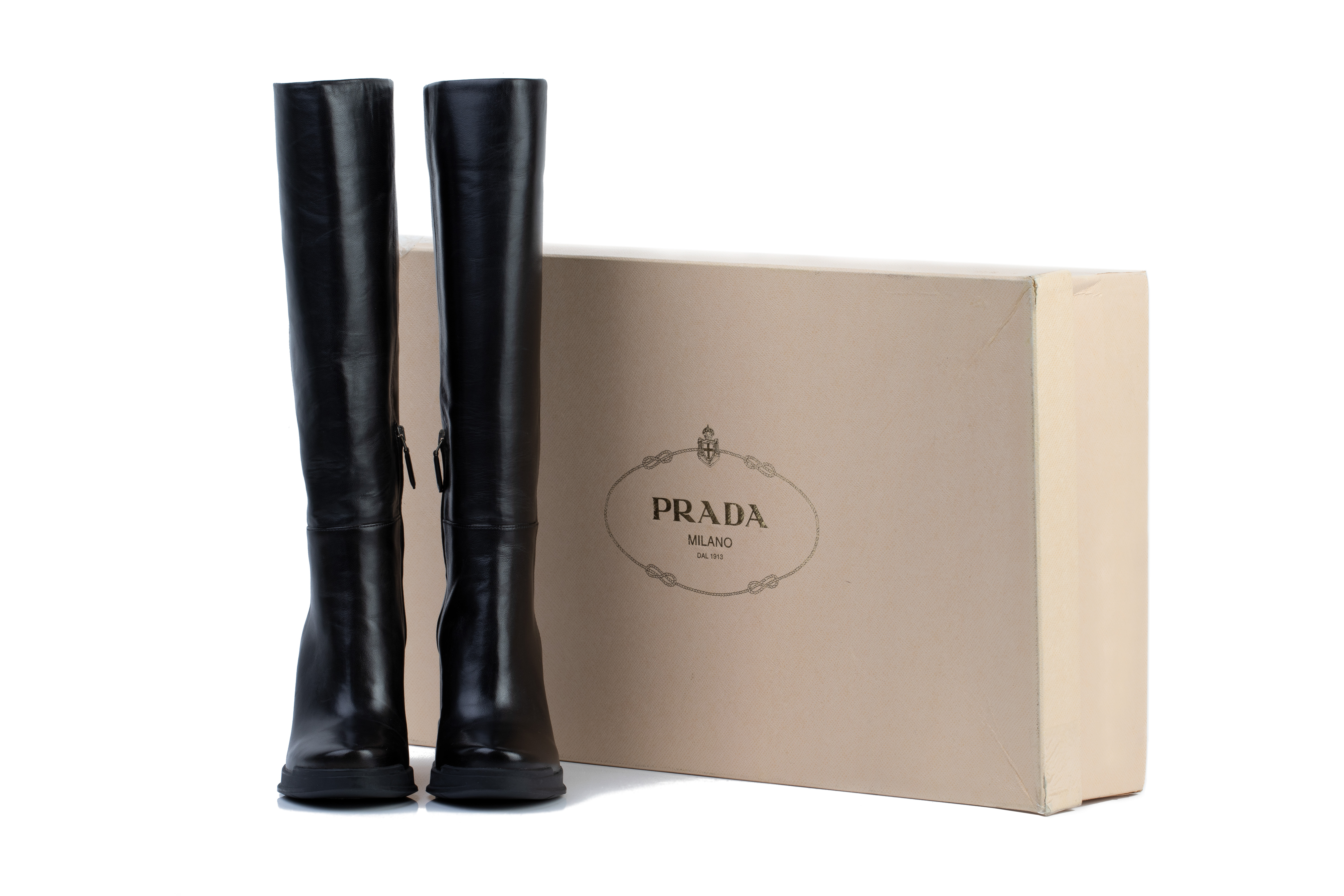 A PAIR OF PRADA BLACK LEATHER WEDGE BOOTS EU36 - Image 6 of 6