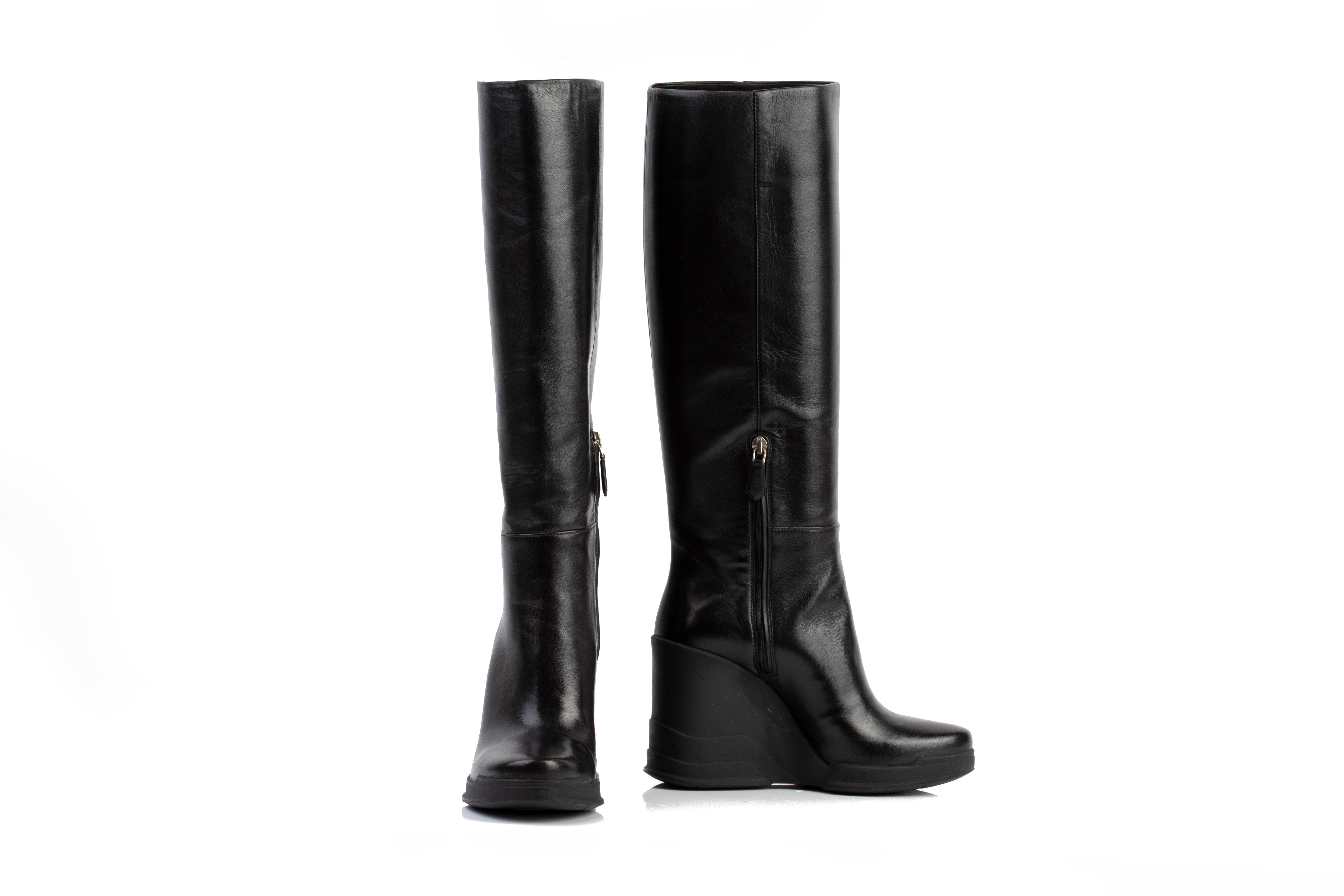 A PAIR OF PRADA BLACK LEATHER WEDGE BOOTS EU36 - Image 3 of 6