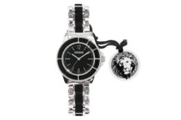A VERSACE BLACK TOKYO TWO TONE DIAL STAINLESS STEEL WATCH
