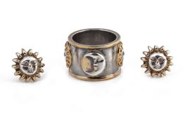 A SERGIO STERLING SILVER SUN AND MOON EARRINGS AND RING SET
