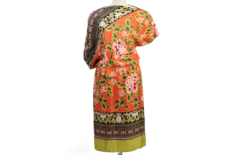 A JOSIE NATORI MULTICOLOURED ASYMMETRY DRESS