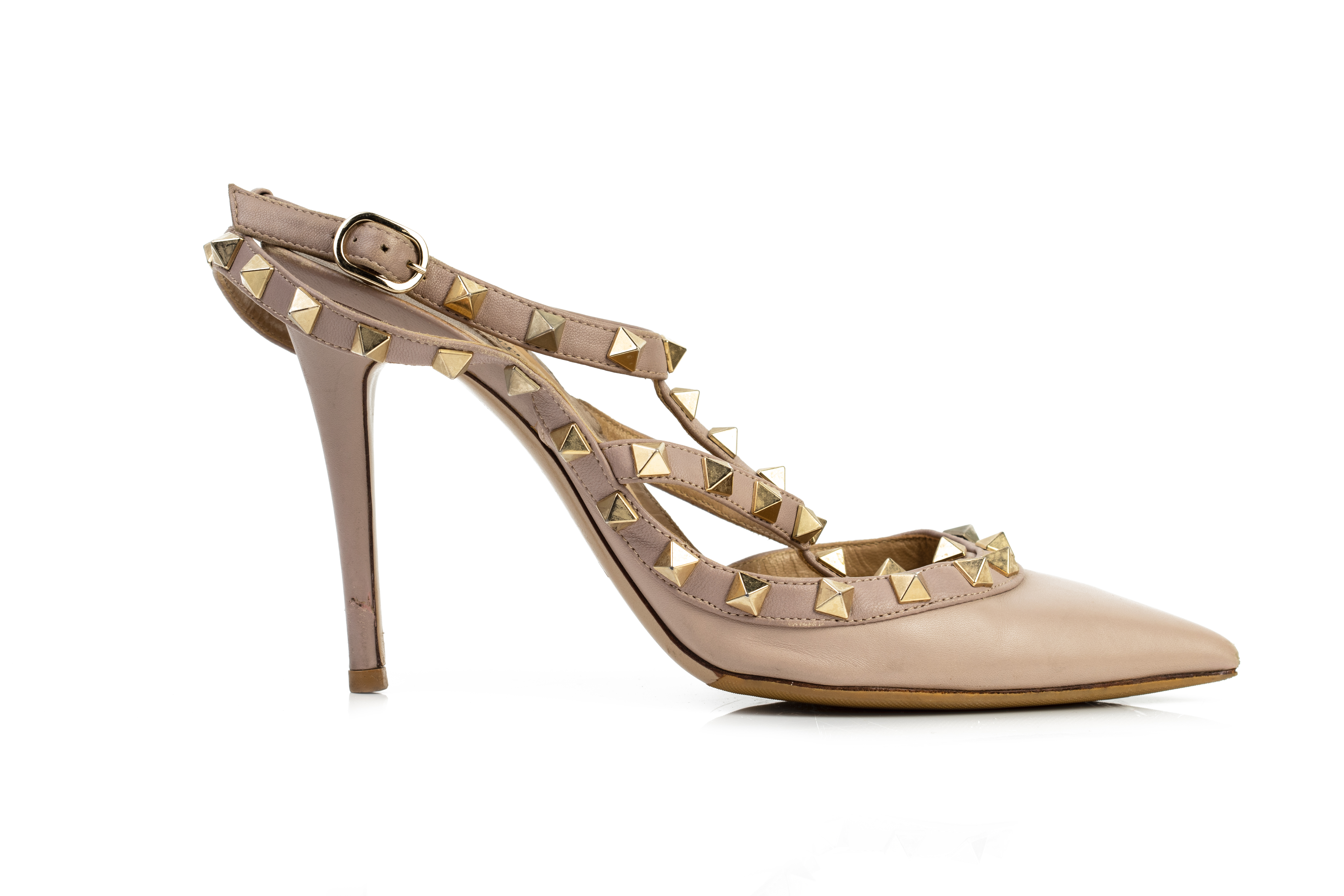 A PAIR OF VALENTINO ROCKSTUD ANKLE STRAP NEUTRAL PUMPS EU36 - Image 2 of 4