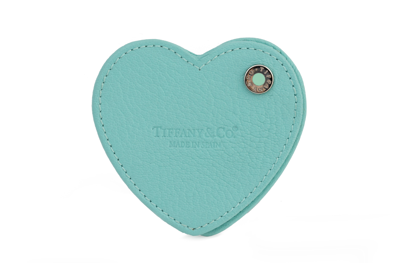 TIFFANY & CO. HEART-SHAPED LEATHER HANDBAG MIRROR