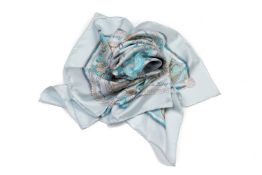 AN HERMES BLUE PER ASTRA AD ASTRA SILK SCARF