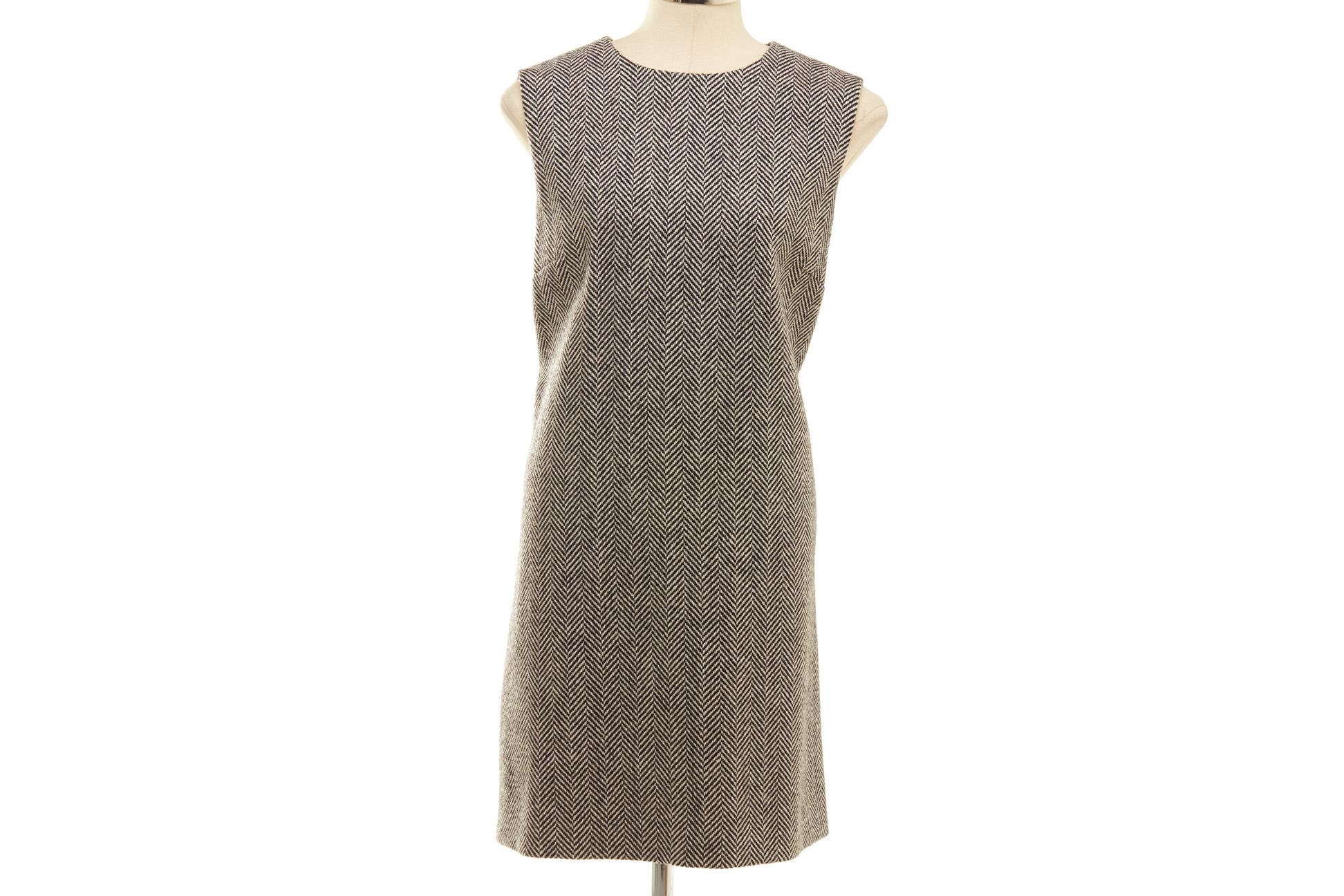 A DOLCE & GABBANA GREY HERRINGBONE TWEED DRESS