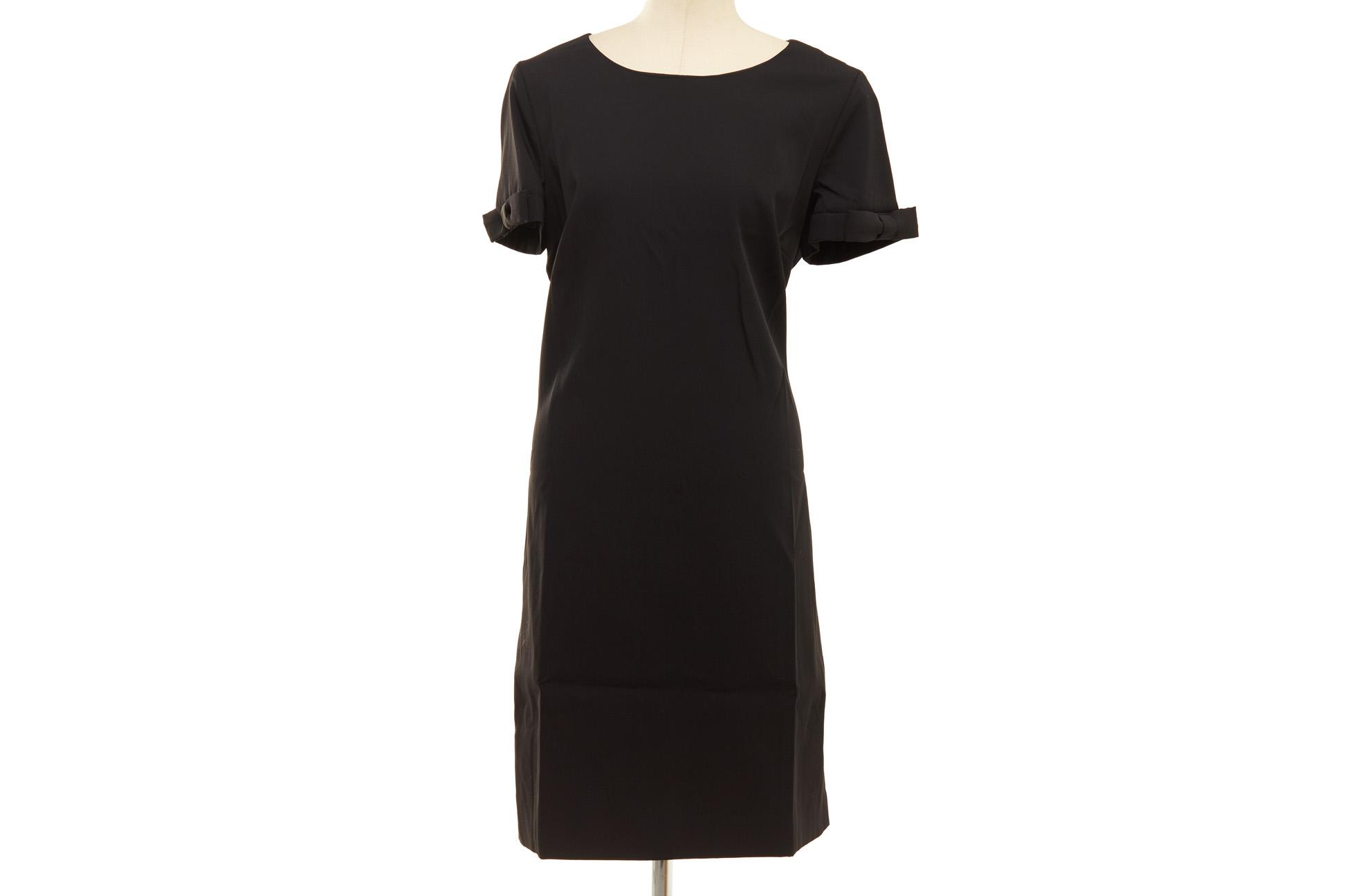A MOSCHINO BLACK WOOL SHIFT DRESS