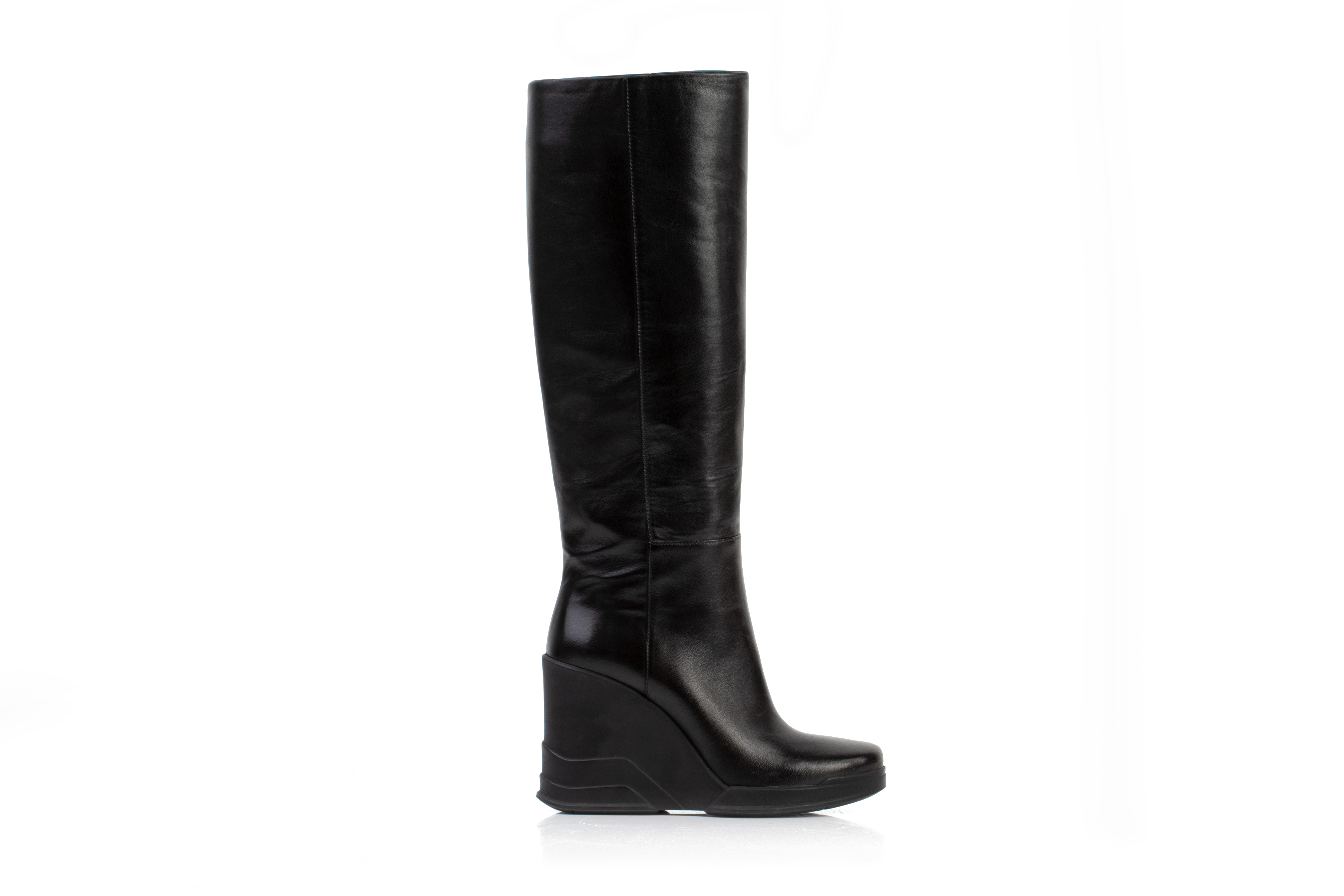 A PAIR OF PRADA BLACK LEATHER WEDGE BOOTS EU36 - Image 2 of 6