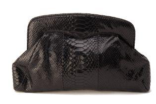 AN L.K.BENNETT BLACK SNAKE PRINT LEATHER CLUTCH BAG