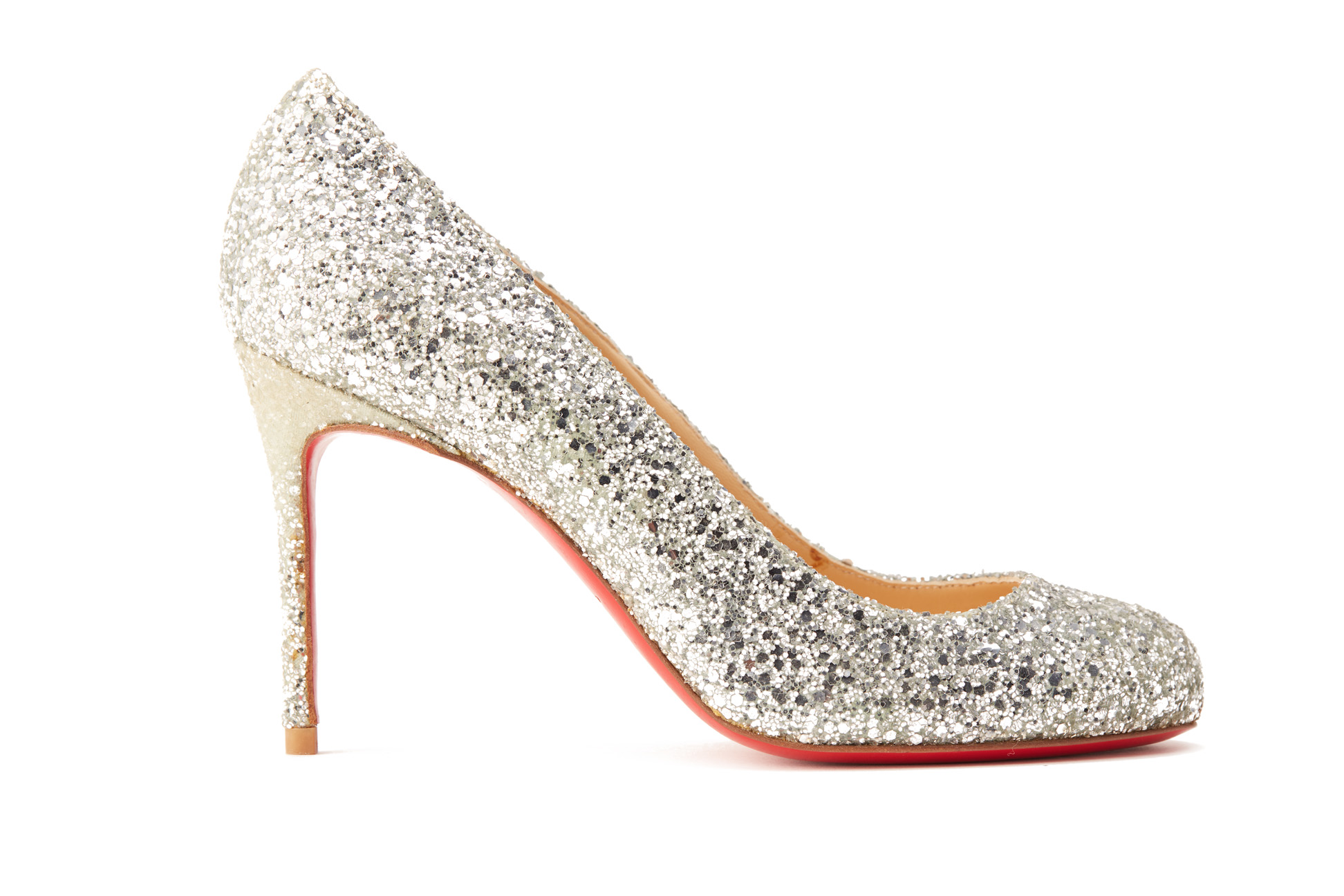 A PAIR OF CHRISTIAN LOUBOUTIN SILVER SPARKLY HEELS EU 35.5 - Image 2 of 4