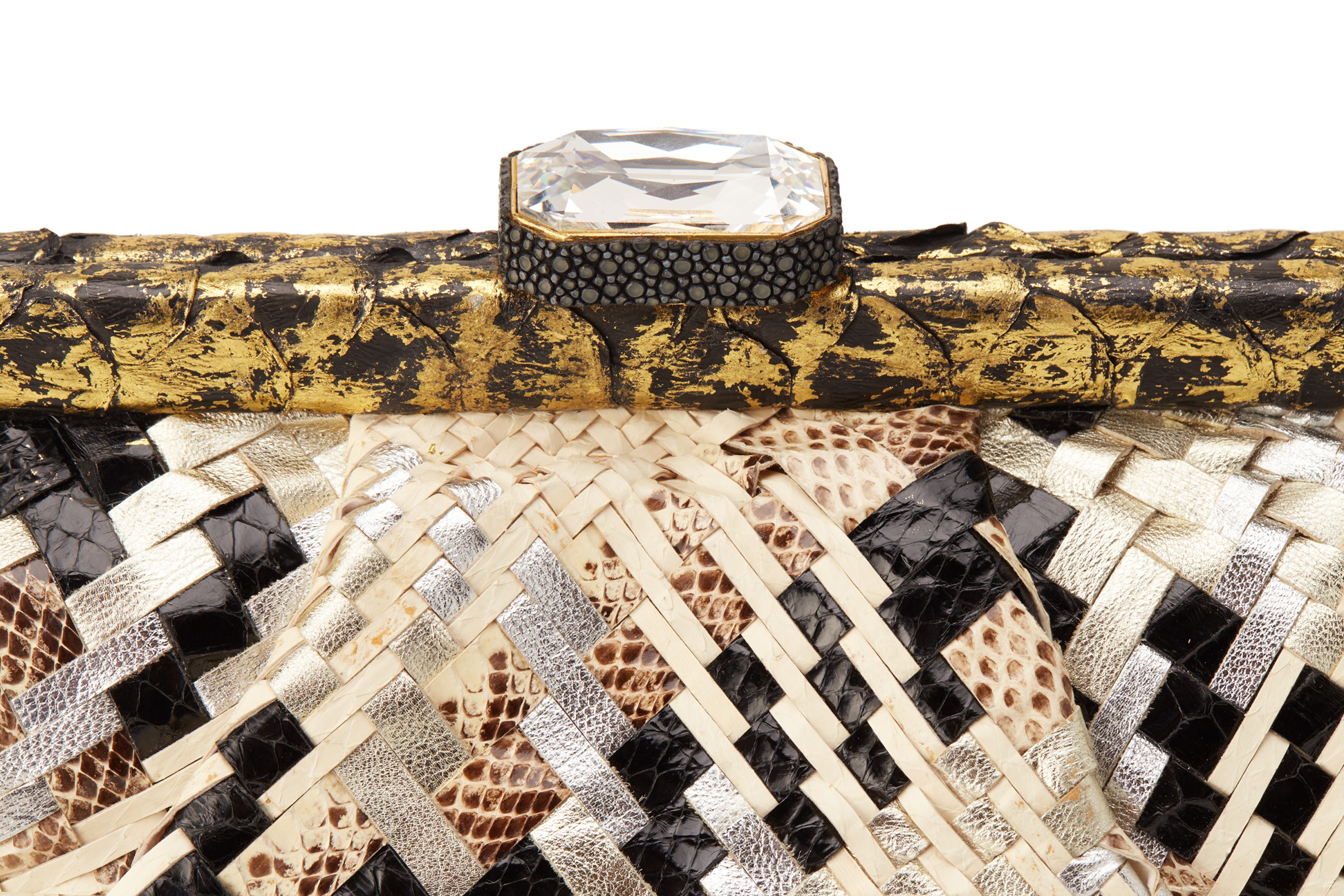 AN ANA MULTICOLOURED SNAKESKIN WEAVED CLUTCH - Image 2 of 5