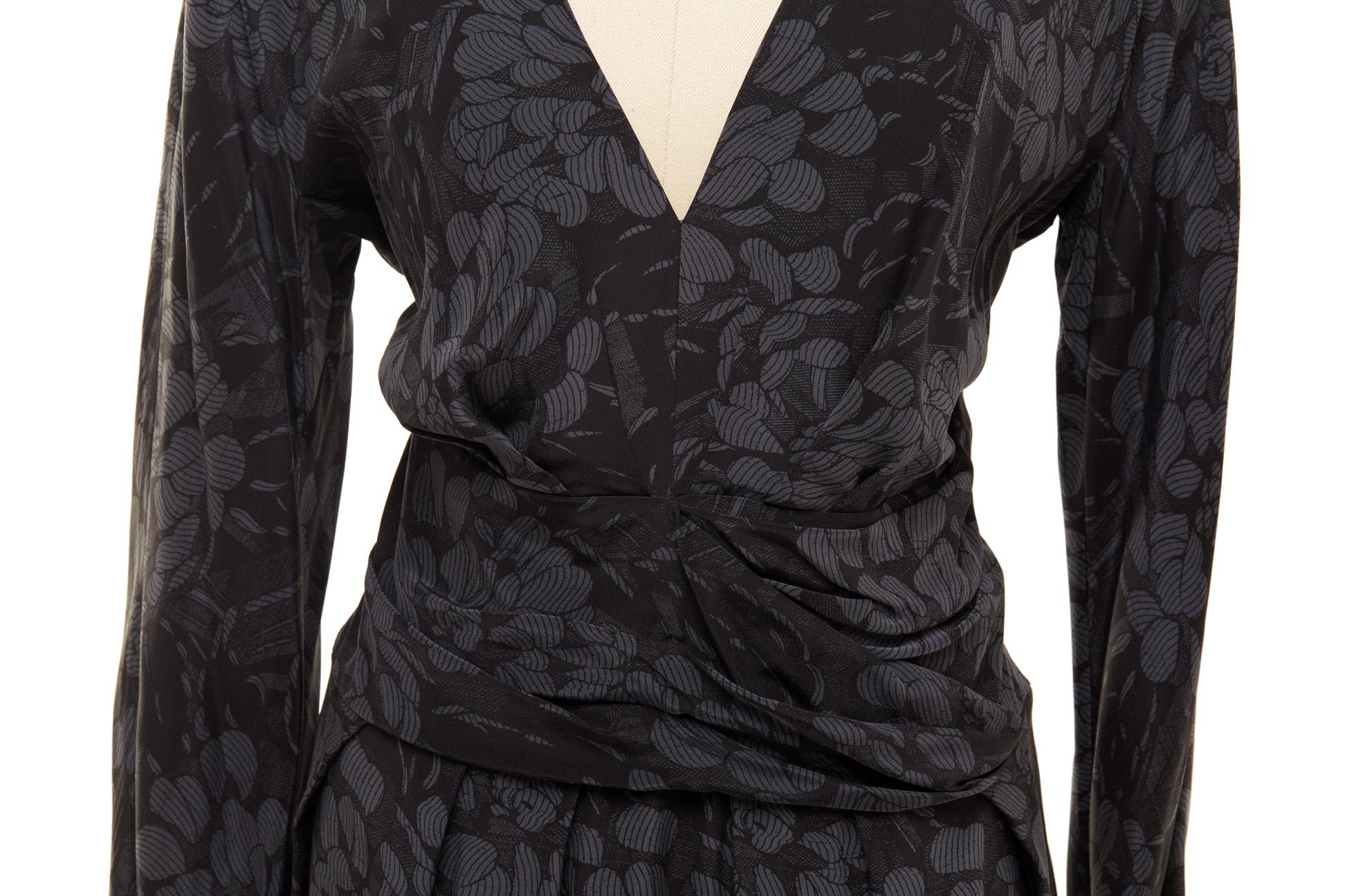 A BOTTEGA VENETA BLACK FLORAL SILK DRESS - Image 2 of 2