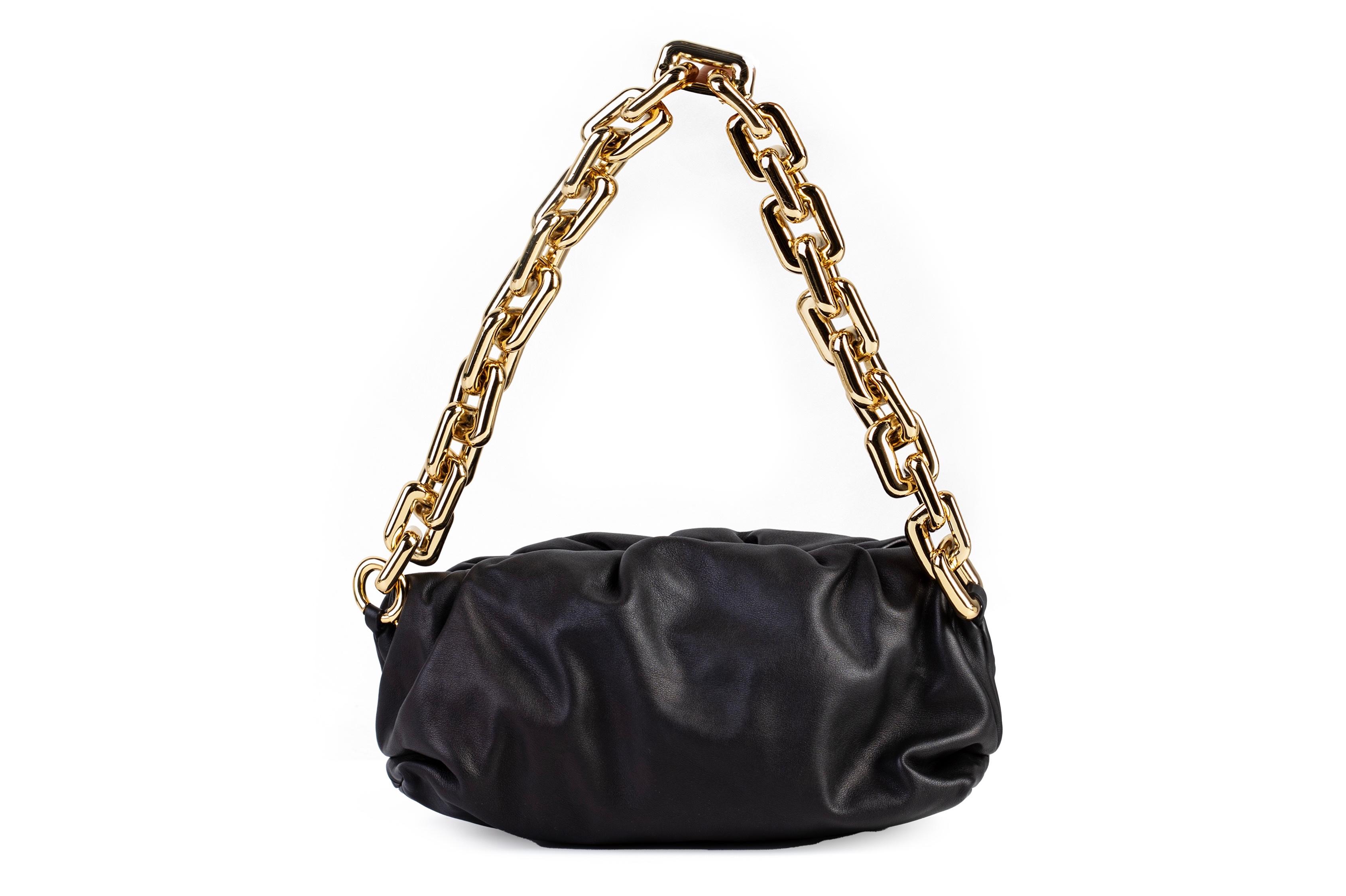 A BOTTEGA VENETA GOLD CHAIN BLACK POUCH SHOULDER BAG