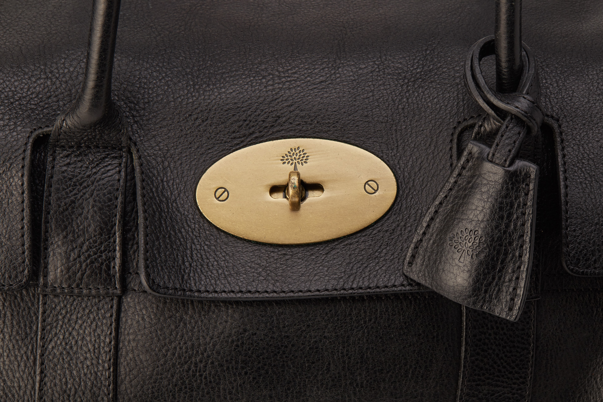 A MULBERRY BLACK BAYSWATER LEATHER TOTE BAG - Image 2 of 4